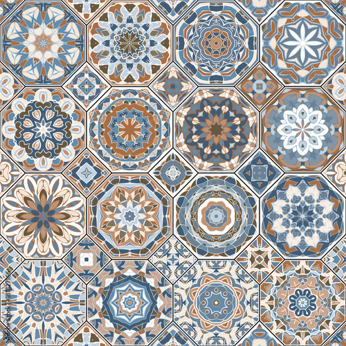 Vector collection of square and octagonal seamless patterns in Oriental style. A set of multicolor tiles. - 181827166
