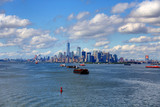 Large Freighters and New York City - 181827555