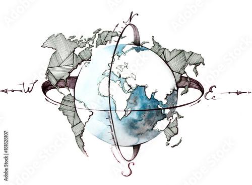 Foto op Aluminium Schilderingen globe