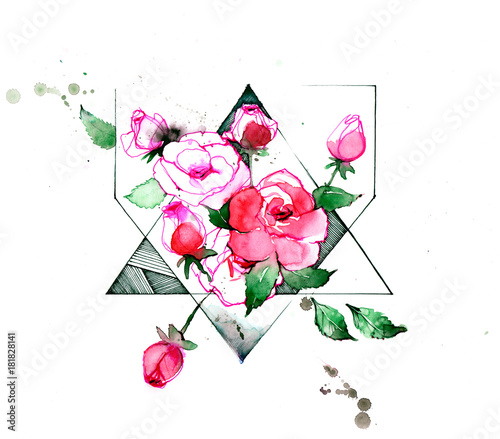 Foto op Aluminium Schilderingen roses