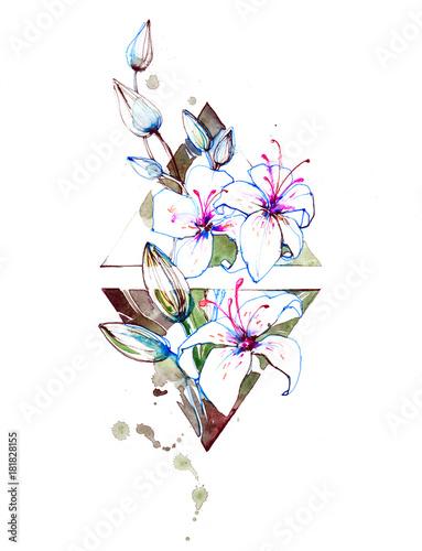 Foto op Aluminium Schilderingen lilies