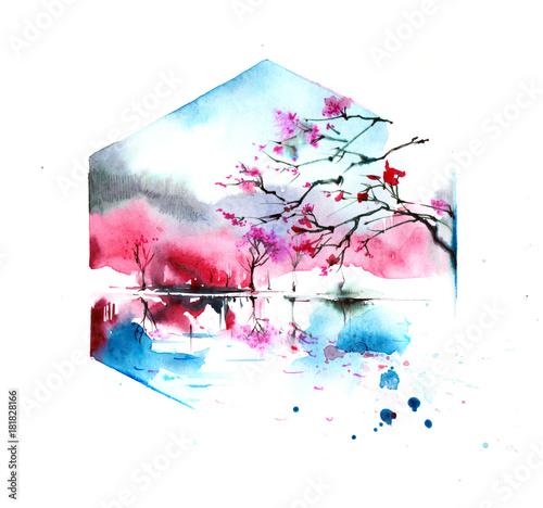 Foto op Aluminium Schilderingen sakura