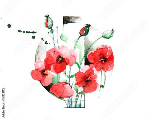 Foto op Aluminium Schilderingen poppies