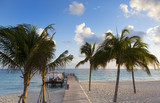 Beach side view to the Caribbean sea. Long wooden pier, curtains and massage place, palm trees and white sand beach. Turquoise water paradise. - 181833134