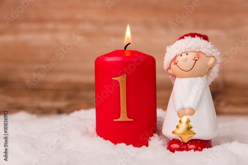 Kerze zum Advent mit der Ziffer 1 Poster