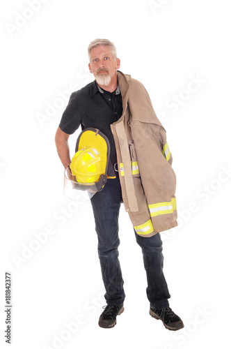 A firefighter with jacket standing from front Poster