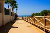 Beach. Summer beach view. Puerto Banus city, Marbella, Andalusia, Spain.
