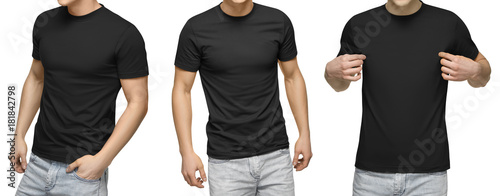 Young male in blank black t-shirt, front and back view, isolated white background with clipping path. Design men tshirt template and mockup for print