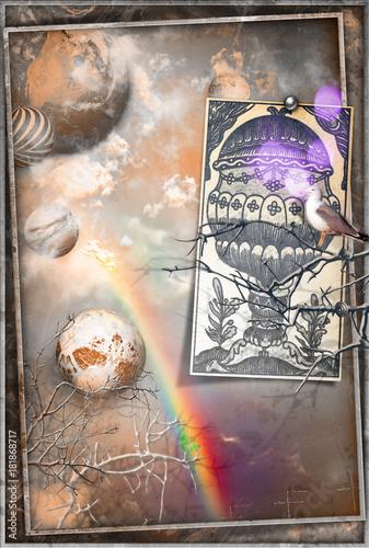 Foto op Canvas Imagination Collage fantastico con cielo vintage,arcobaleno,pianeti,colomba e asso di coppe antico delle carte dei tarocchi