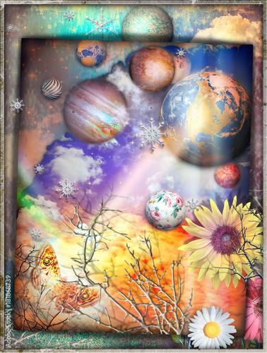 Foto op Canvas Imagination Cielo fantastico con con collage di stelle,fiocchi di neve,astri,pianeti,prato fiorito,farfalla e nuvole