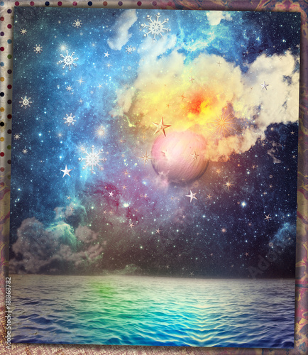 Deurstickers Imagination Luna piena con fiocchi neve, mare,cielo notturno e stellato,scena fiabesca e fantastica