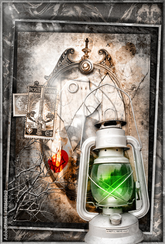 Staande foto Imagination Specchio magico delle fiabe con lanterna,scena dark e fantastica
