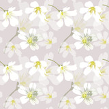 Seamless beautiful pattern with flowers in pastel tans on a light background