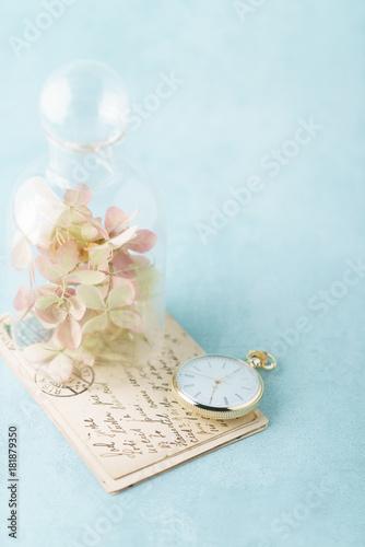 Fotobehang Hydrangea vintage cards and hydrangea flowers