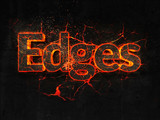 Edges Fire text flame burning hot lava explosion background. - 181882383
