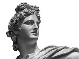 Portrait of a plaster statue of Apollo isolated on white - 181884959
