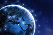 Leinwanddruck Bild - Global communication network around planet Earth in space, worldwide exchange