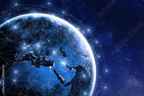Leinwanddruck Bild Global communication network around planet Earth in space, worldwide exchange
