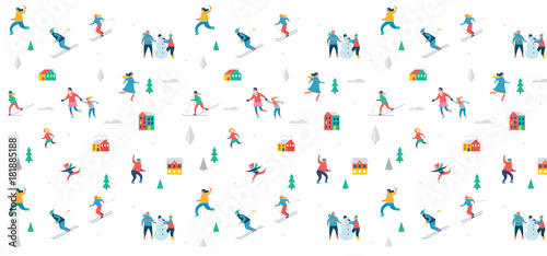 Sticker Winter sport scene, Christmas festival and fair, families with kids make fun