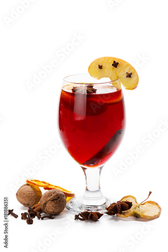 Fotobehang Thee Cup of hot wine with spices on white background