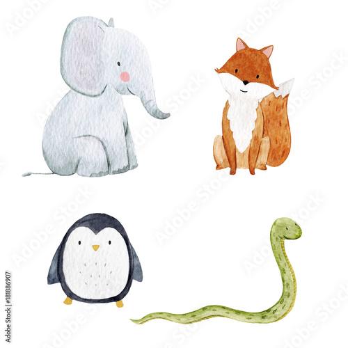 Fototapeta Cute watercolor animal set