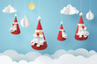 Paper art of Santa claus hang with rope on sky, happy new year celebration concept