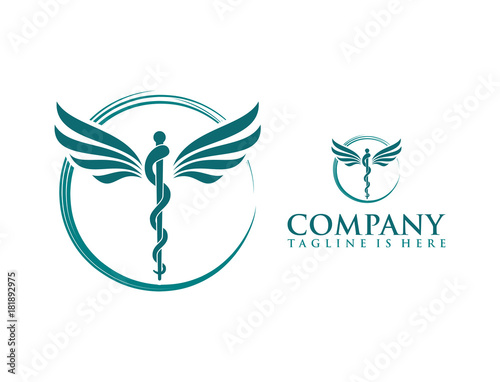 Classic Circle With Snake Stick And Wings Medicine Logo Symbol Buy