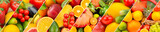 fruits and vegetables background. Collage. Wide photo .