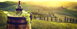 Red wine bottle and wine glass on wodden barrel. Beautiful Tuscany background - 181898710