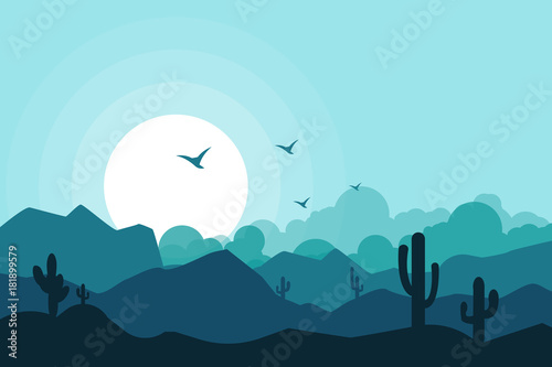 Deurstickers Lichtblauw Landscape vector illustration background