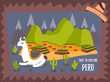 Concept poster of Peru with cute lama and tourist destinations