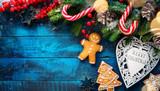 Christmas holidays ornament flat lay; Christmas card background - 181900954