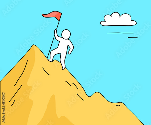 Foto op Canvas Turkoois Man Climbing High Mountain on Vector Illustration