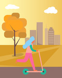 Girl Riding Kick-scooter on Vector Illustration