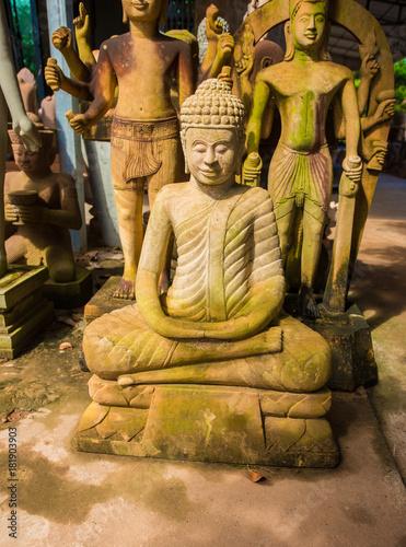 Foto op Aluminium Boeddha Stone Sculpture Cambodia