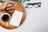 Coffee, scissors and glasses on the white background - 181908990