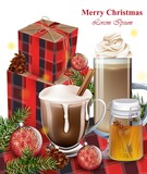 Hot chocolate, latte and gift boxes. Winter Holiday backgrounds