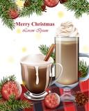 Merry Christmas card with Hot chocolate drinks. Winter Holiday backgrounds