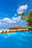 Pool and cafe on Maldives beach - 181910154