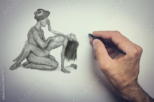 drawing a naked girl and a man © sasun Bughdaryan