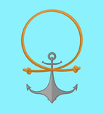 Rope and anchor. Sea emblem. Vector illustration