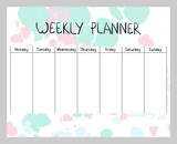 Hand drawing vector weekly planner. Abstract painting templates.