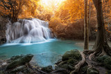 Huay Mae Kamin Waterfall, beautiful waterfall in autumn forest, Kanchanaburi province, Thailand
