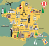 France travel map with sights flat style vector illustration. Popular buildings for tourists. French map. Tourism and travel.