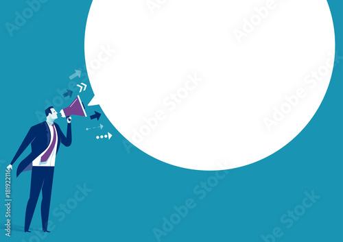 Fototapeta The Message. Businessman communicates through a megaphone. Concept business illustration