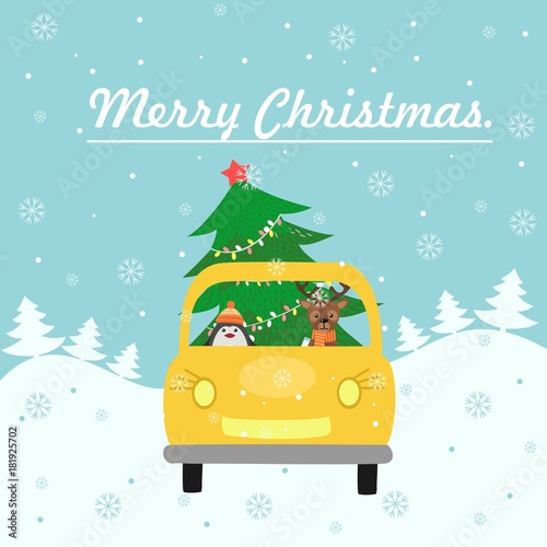 Fotobehang Auto Merry Christmas card. The yellow car gives a Christmas tree to decorate the house. Colorful vector illustration for the winter holidays. You can use for small and medium enterprises Christmas cards.