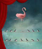 Stand out from the crowd - Flamingo nd sparrows in a surreal stage