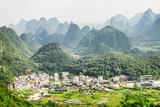 Amazing view of valley among scenic karst mountains, Yangshuo - 181926791
