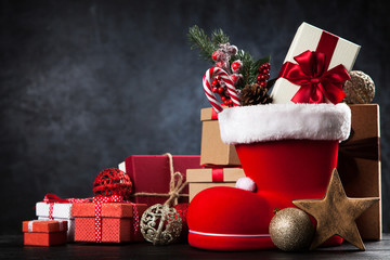 Santa's shoe on dark background