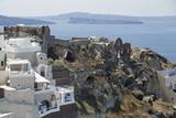 Byzantine castle ruins in Oia village, Santorini Island, Greece, Europe - 181927711